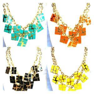 Cascade Enamel Cubic Charm Necklaces